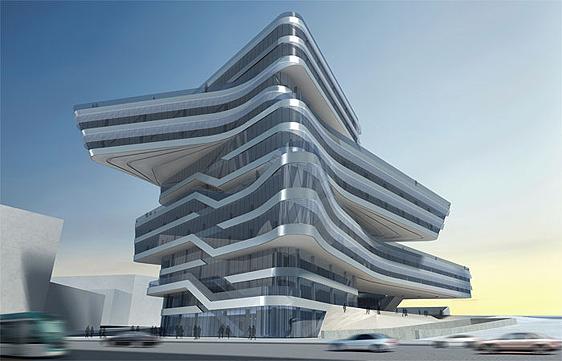 La iraquí Zaha Hadid es la responsable de la Torre Espiral. Edificio de oficinas que será sede del Campus Interuniversitario del Besós, en Barcelona. Más de 27.000 metros cuadrados y una inversión de 53 millones de euros que se verán materializados a finales de este 2009. La nueva construcción será puerta arquitectónica de la Ciudad Condal y unirá urbanísticamente las areas del Forum 2004, el distrito tecnológico 22@ y el Campus Interuniversitario de Besós, ubicado en el límite de Barcelona con Sant Adriá, al final de la Avenida Diagonal. Foto: El Consorcio de la Zona Franca de Barcelona.