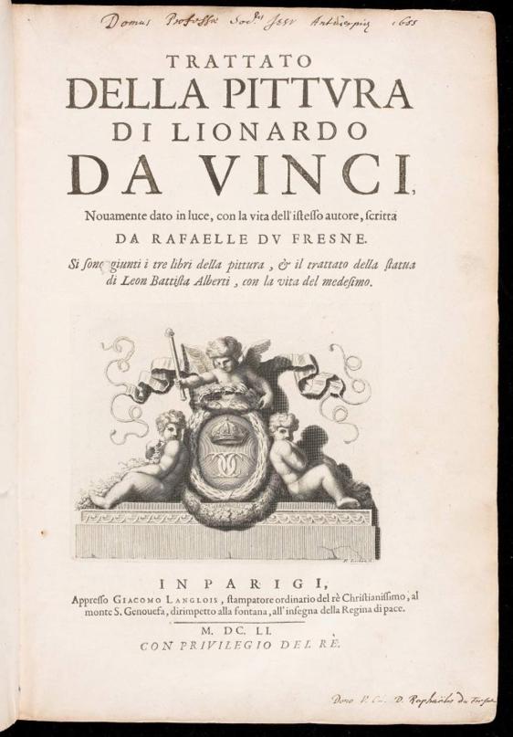 | Foto: Leonardo da Vinci (1452-1519). Trattato della pittura di Lionardo da Vinci. París: Giacomo Langlois. 1651.