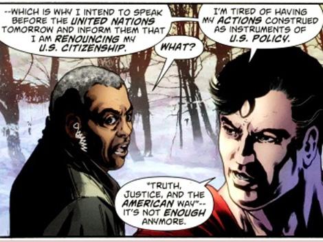 Viñeta del Action Comics 900 en la que Superman 'renuncia' a su nacionalidad. | DC Cómics