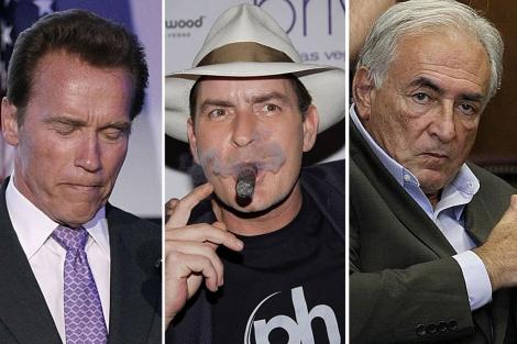 Schwarzenegger (I) Charlie Sheen (C) y Strauss-Kahn (D).