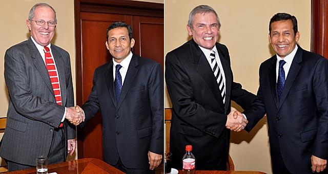 Los ex candidatos presidenciales Pedro Pablo Kuczynski y Luis Castañeda felicitan a Humala. | Efe