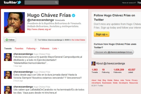 Imagen del Twitter de Hugo Chávez el 24 de junio de 2011.