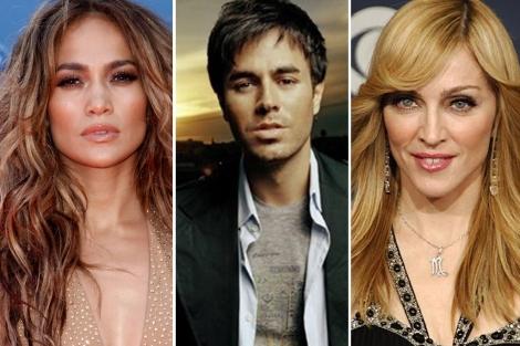 Jennifer Lopez, Enrique Iglesias y Madonna.