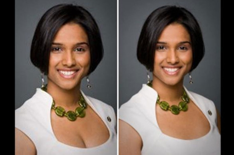 Rathika Sitsabaiesan en la foto de antes y después. | National Post