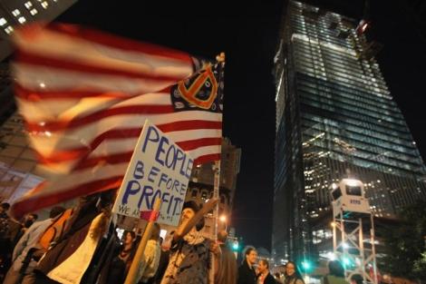Manifestación de 'indignados' en Wall Street. | Afp