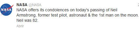 Pequeño comunicado de la Nasa expresando sus condolencias por la pérdida de Neil Armstrong