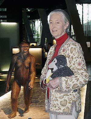 Jane Goodall con un mono de peluche