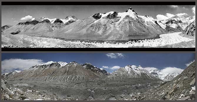 Un glaciar del Himalaya, arriba en una imagen tomada en 1968, abajo en 2007. (Fotos: Reuters)