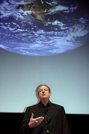 Al Gore, en una de sus conferencias para advertir de los efectos del cambio climático. (Foto: AFP)