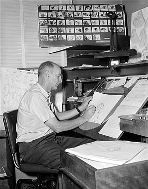Ollie Johnston dibujando a Baloo en 1965 para la película 'El libro de la selva'. (AP)