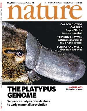 Portada de la revista 'Nature' con el genoma del ornitorrinco. (Foto: Nature)