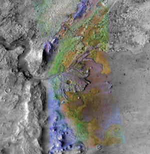 La zona de color en el la fotografía muestra el delta del cráter 'Jezero', que pudo haber sido un lago. (Foto: NASA | Brown University)