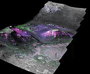 Reconstrucción en 3-D de la concentración de los filosilicatos en la región 'Nili Fossae' de Marte. (Foto: NASA | Brown University)