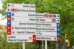 Letreros indicadores en la provincia de Girona, todos ellos escritos únicamente en catalán. (Foto: Eddy Kelele)