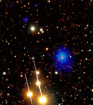 Imagen del 'racimo de galaxias', en azul, enviada por el XMM Newton. (Foto: ESA)
