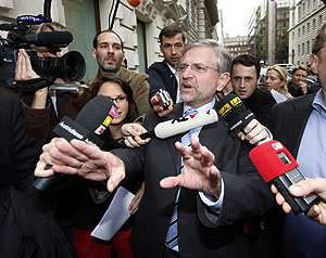Wilhelm Molterer, jefe del OVP, en Viena. (Foto: AP)