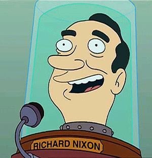 La cabeza de Richard Nixon, en un episodio de 'Futurama'.