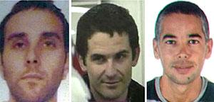 Los etarras detenidos. De izda. a dcha, Iriondo, Zarrabeitia y Artetxe. (Foto: Interior | EFE)