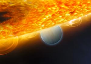 Recreación artística del planeta HD 187933b, orbitando en torno a su estrelle. (Foto: NASA)