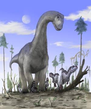 Recreación artística de un saurópodo. (Foto: AFP)