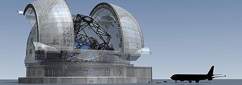 Recreación del Telescopio Europeo Extremadamente Grande junto a un Airbus 340. (Foto: ESO)