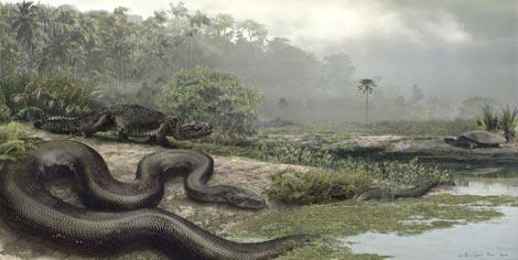 Recreación artística de la serpiente prehistórica hallada en Colombia. | Nature