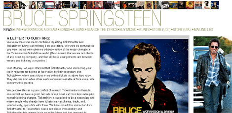 Carta a los fans en la web de Springsteen.
