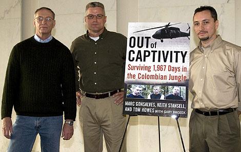 Los tres estadounidenses, en la presentación del libro.  Efe