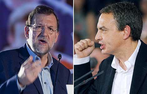 Rajoy y Zapatero, durante sus mítines electorales. (Fotos: Mitxi | EFE)