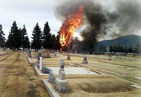 La aeronave cayó junto al cementerio local. | Ap