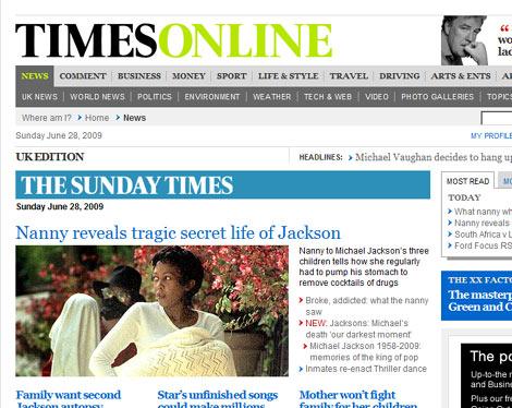 Imagen de la niñera en la portada del 'Sunday Times'.