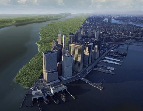 Montaje de la isla neoyorquina hace 400 años y en la actualidad. |<span class=