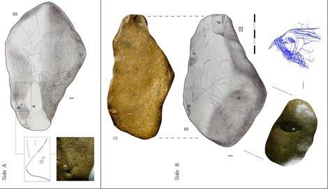 Piedra con el mapa y algunos de los dibujos que se obsservan. |Journal of Human Evolution