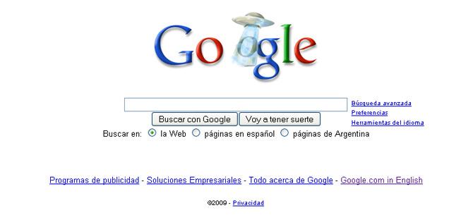 La página de Google en Argentina, con el extraño logo.
