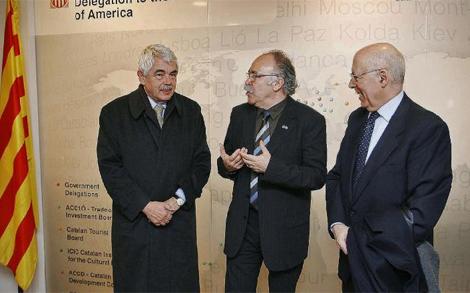 Maragall, Carod-Rovira, y Rigol en la delegación catalana en Nueva York. | J. B.