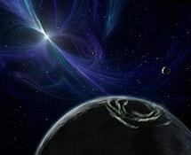 Un pulsar y un planeta que lo orbita.