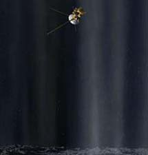 Recreación de la sonda Cassini sobrevolando los géiseres.