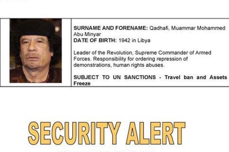 Ficha de Gadafi de la Interpol.
