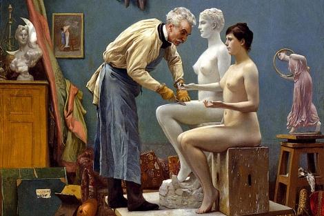 Fragmento de 'El trabajo en mármol', de Jean-Léon Gérome, que  actualmente se puede ver en el Thyssen.
