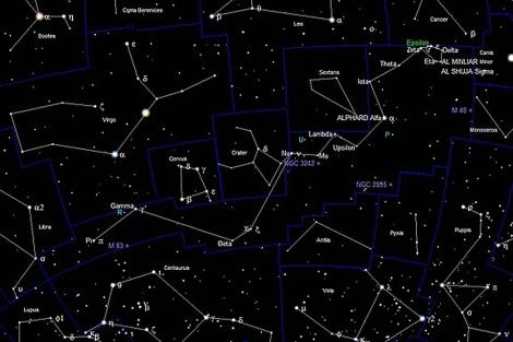 Mapa de la constelación de Hydra.
