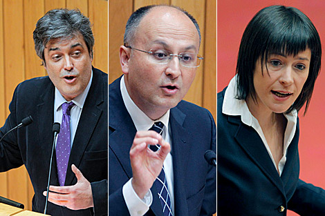 Pedro Puy (PP), Abel Losada (PSdeG) y Ana Pontón (BNG). | Efe