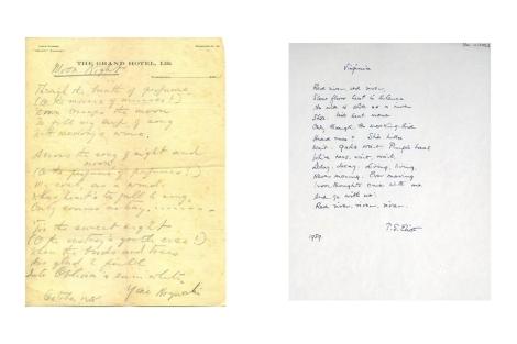 Dos poemas manuscritos de Yone Noguchi y TS Eliot.