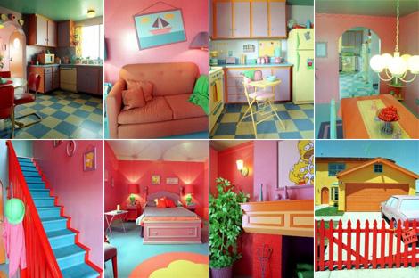Mosaico con habitaciones de la casa de los Simpson.