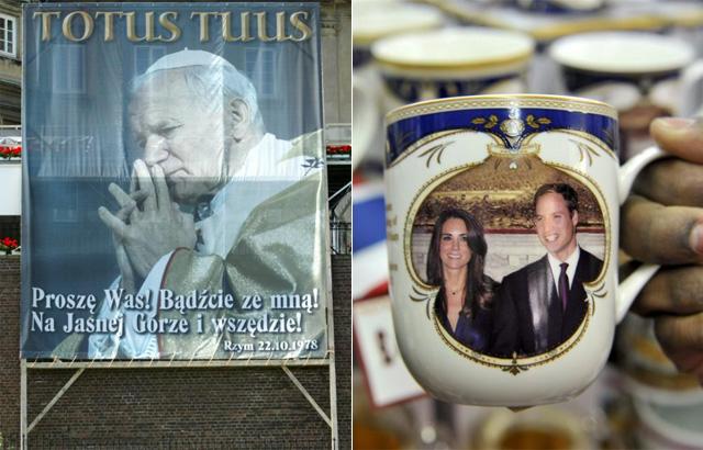 Una pancarta del Pontífice frente a una taza conmemorativa de la boda real. | Fotos: Efe