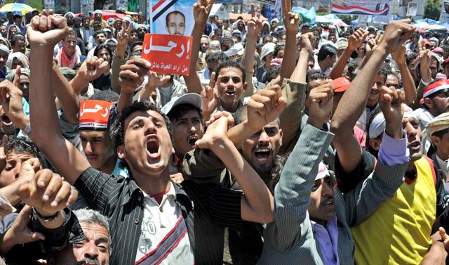 Manifestación antigubernamental el lunes en Saná. | EFE