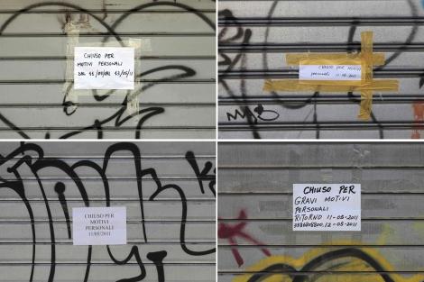 Imagen de cuatro tiendas en Chinatown de Roma, cerradas por diversos motivos. | Reuters