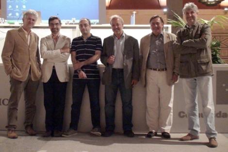 Juan Luis Arsuaga, Antonio Rosas, Carles Lalueza-Fox, Jordi Agusti, Clive Finlayson y Enrique Baquedano, en Alcalá de Henares.