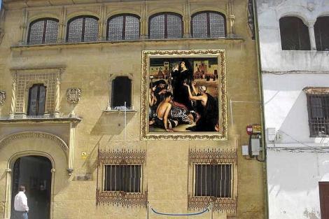 La Saeta', de Romero de Torres, recreada en la plaza del Potro. | M. Cubero