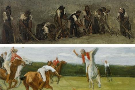 Fragmentos de 'Polospieler in Jenischs Park' y de 'Trabajadores de la remolacha'.