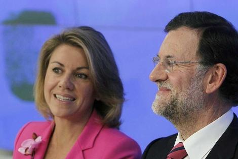 Mariano Rajoy, junto a María Dolores de Cospedal, en la Junta Directiva Nacional del PP. | Efe